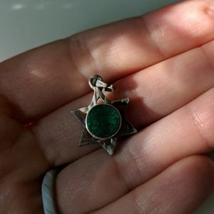 Star of David necklace pendant with green stone